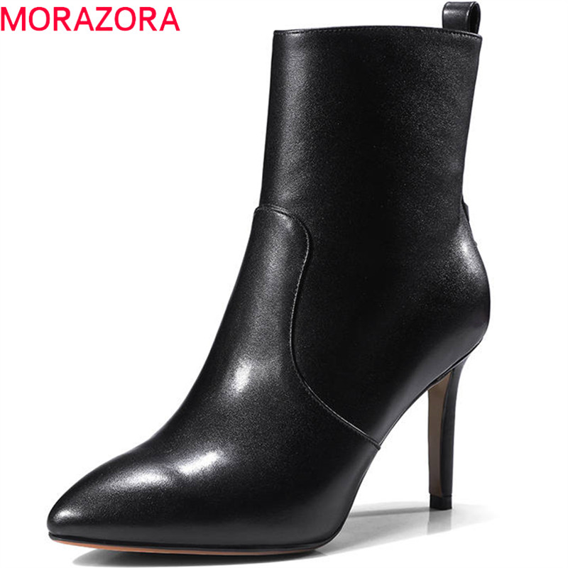 MORAZORA 2018 pointed toe boots women short plush autumn winter fashion boots zipper genuine leather sexy high heel ankle boots autumn winter women thick high heel genuine leather buckle side zipper pointed toe fashion ankle martin boots size 34 39 sxq0902