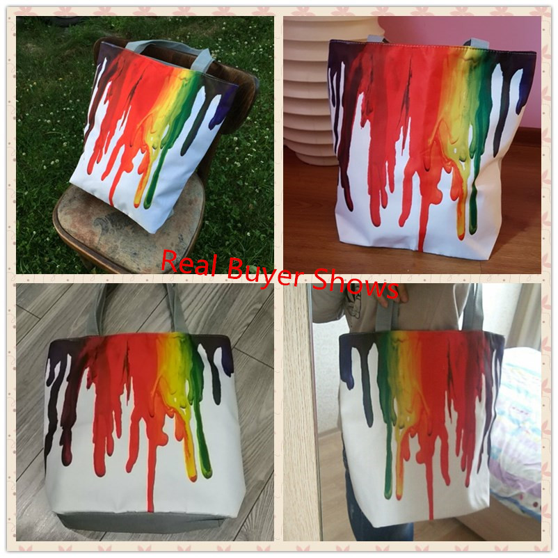 Miyahouse Harajuku Style Colorful Painting Shoulder Bag Women Large Capacity Shopping Bag Female Casual Tote Handbag 4