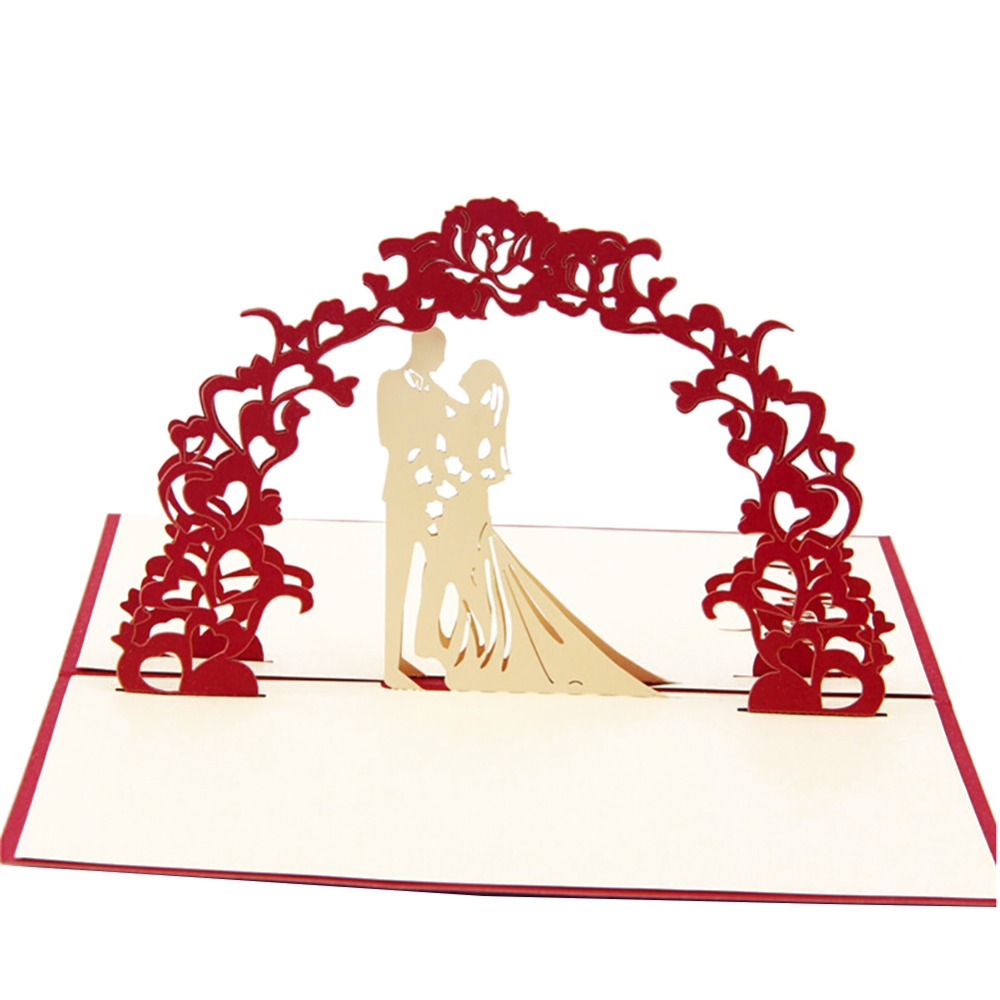 3D Laser cut Paper Custom Postcards Gifts Wedding Invitation Greeting Pop Up Kirigami Card