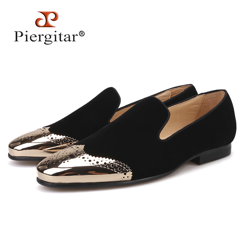 Piergitar 2018 new Black velvet shoes with gold Bullock buckle Fashion party and wedding men loafers