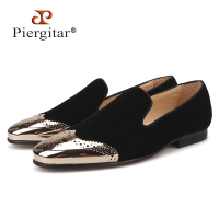 Piergitar 2018 new Black velvet shoes with gold Bullock buckle Fashion party and wedding men loafers Plus size men casual shoes