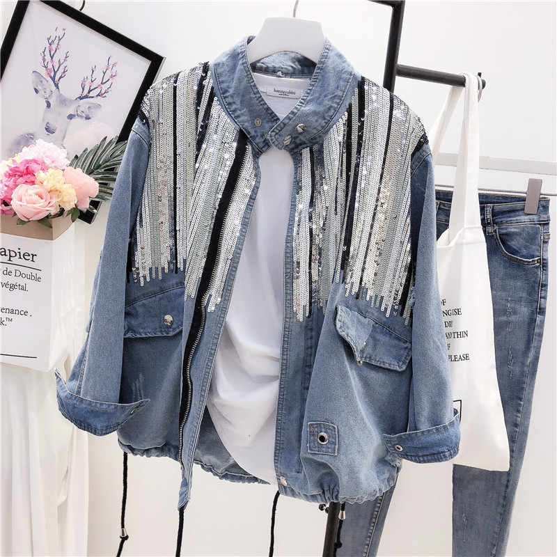 2018 Sequins Denim Jacket Women Bomber Jacket Fashion Long Sleeves Coats Vintage Hippie Jeans Jacket Colete Feminino  B489