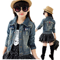 Girls Jean jacket of  spring and autumn child outfit 2017 New Year baby girls cowboy coat jackets teenage fashion clothing style