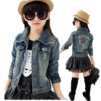 Girls Jean Jacket Of Spring And Autumn Child Outfit 2017 New Year Baby Girls Cowboy Coat