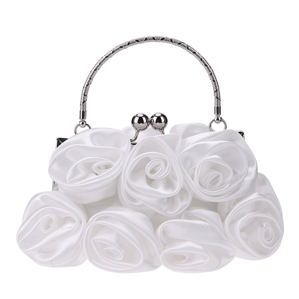 Elegant Women Satin Rose Clip Handbags Ladies Evening Wedding Party Frame Handle Small Clutches Chain Shoulder Purse Phone Bags