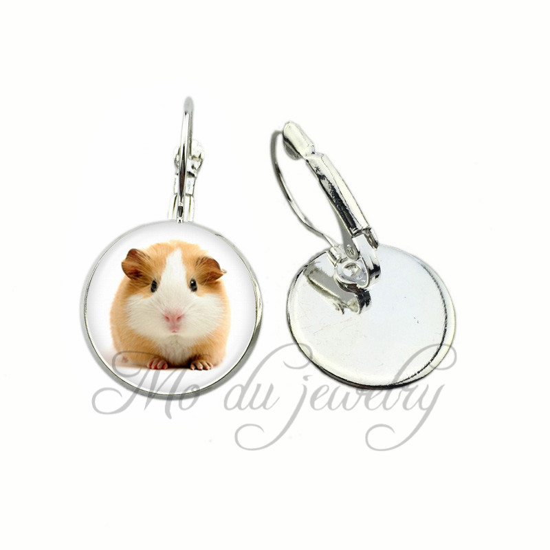 Cute Brown and White Guinea Pig Clip Earrings Lovely Guinea Pig Earrings Animal Lover Clip Earrings Jewelry Acessories