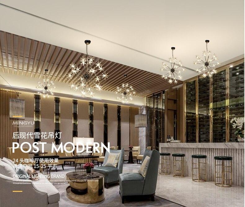 Modern Chandeliers Lamp Glass Stars Suspension Christmas Snow Light Hotel Restaurant Dinning Room Living Room Lighting - 6