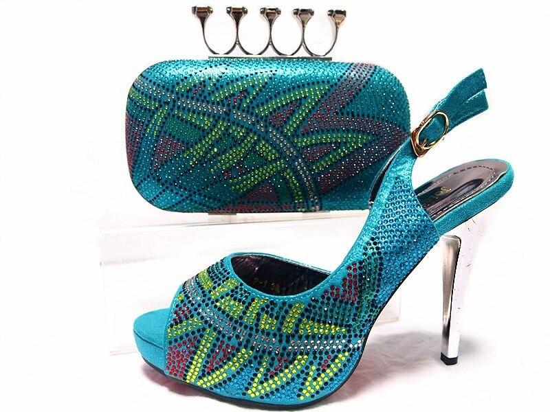 ФОТО Aqua African Shoes and Bag for Woman Summer African Style Shoes and Bag Set Italy African Shoe and Bag Set  JA10-5
