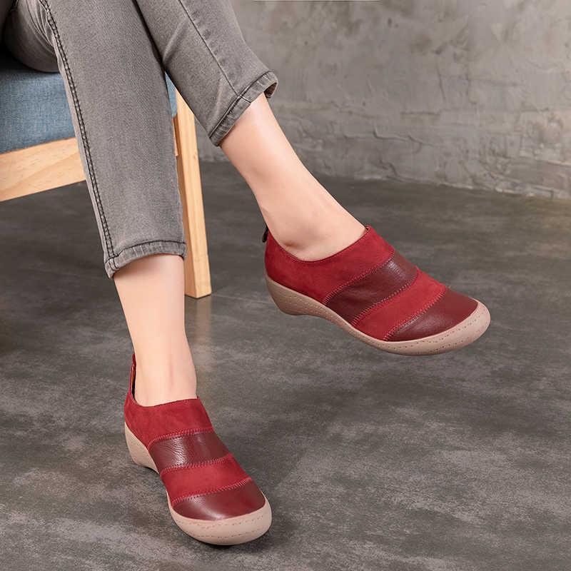 2018 Sonbahar Yeni Hakiki Deri Kadın düz ayakkabı Fermuar Bayanlar yarım çizmeler Yuvarlak Ayak Karışık Renk Vintage Casual Kadın Daireler
