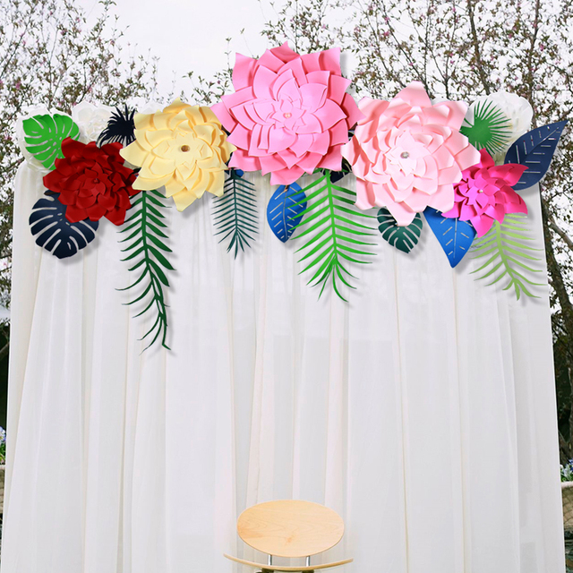 24 Inches Artificial Paper Flower Wall Sticker Stduio Wedding Background Birthday Christmas Party Supplies Decoration