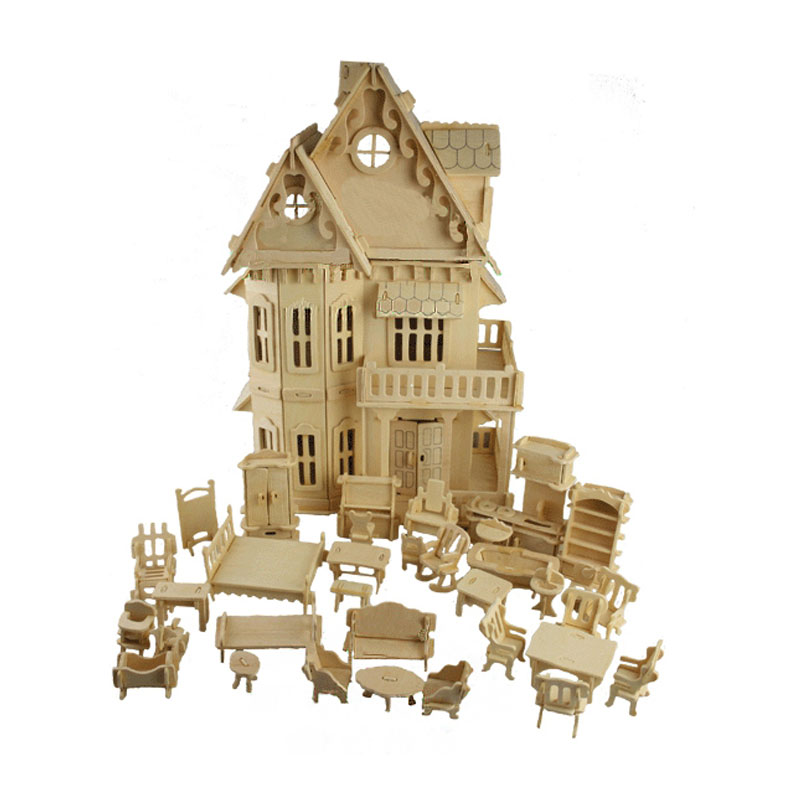 BOHS игрушка Готический куклы дом деревянные весы модели 3D головоломки DIY кукольный домик 1 компл. = * дом + 34 шт. мебель, 30*18 * см 45 см