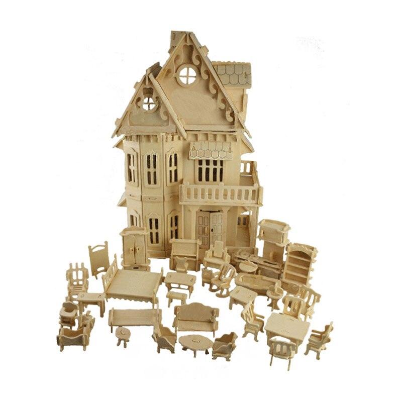 BOHS jouet gothique poupées maison en bois échelle modèles 3D Puzzle bricolage jouer maison de poupée 1 ensembles = 1 * maison + 34 * pcs meubles, 30*18*45 CM