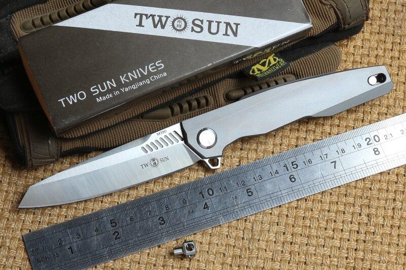 DEUX SOLEIL TS88 M390 lame Tactique ball brearing pliant couteau titanium camping chasse couteaux de Poche de Survie en plein air Outils EDC