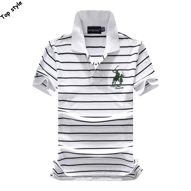 Free Shipping 2018 Summer New Mens Short Sleeve Big Horse Striped Polos Shirts Cotton Mens Casual Polos Fashion Slim Mens Tops