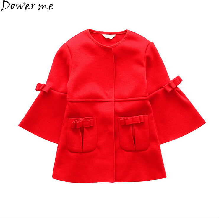 Girl Coat Spring Autumn Baby Fashion Tops Jacket Kid Long Sleeve Red Bow Coat Girls Outwear Children Clothing Outerwear ...