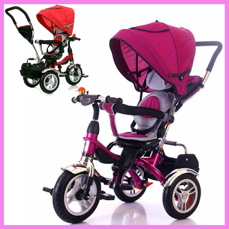 Rotary Chair Child Tricycle Bicycle Baby Three Wheels Stroller Umbrella Trolley Trike Baby Carriage Flat Lying Pushchair Pram child drift trike 4 wheels walker kids ride on toys for 1 3 years tricycle outdoor driver