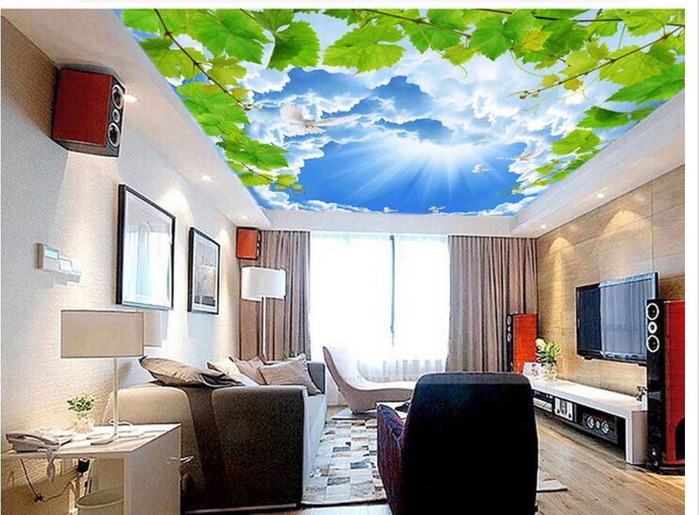 Stunning papier peint d plafond dcoration de la maison bleu ciel blanc nuages pigeons vert feuilles plafond d papier peint dans fonds ducran de amlioration