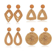 Handmade Rattan Wood Geometric Round Pendant Grass Earrings