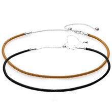 6d090203e941 Nueva plata de ley 925 collar de gargantilla de cuero ajustable con cierre  corredizo de collar para las mujeres de la boda