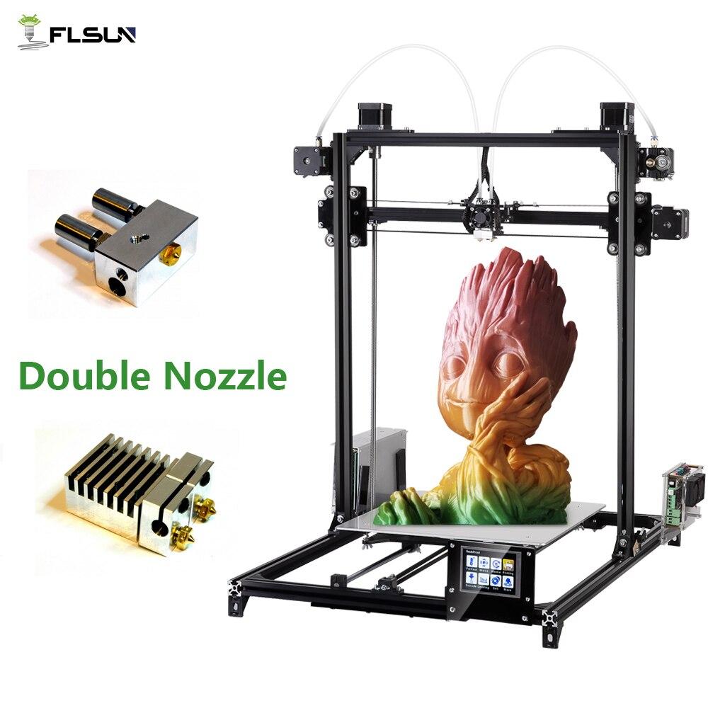 2019 Flsun 3D Imprimante I3 Kit Full Metal grande taille 300x300x420mm extrudeuse double Tactile Auto-nivellement imprimante 3D Chauffée Lit Filament - 5