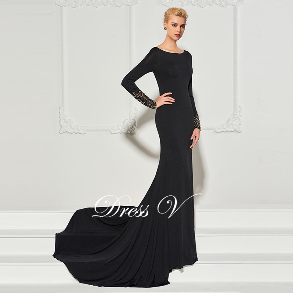 7df4717f575532 Dressv zwarte lange avondjurk hals hof trein lange mouwen mermaid wedding  party formele jurk