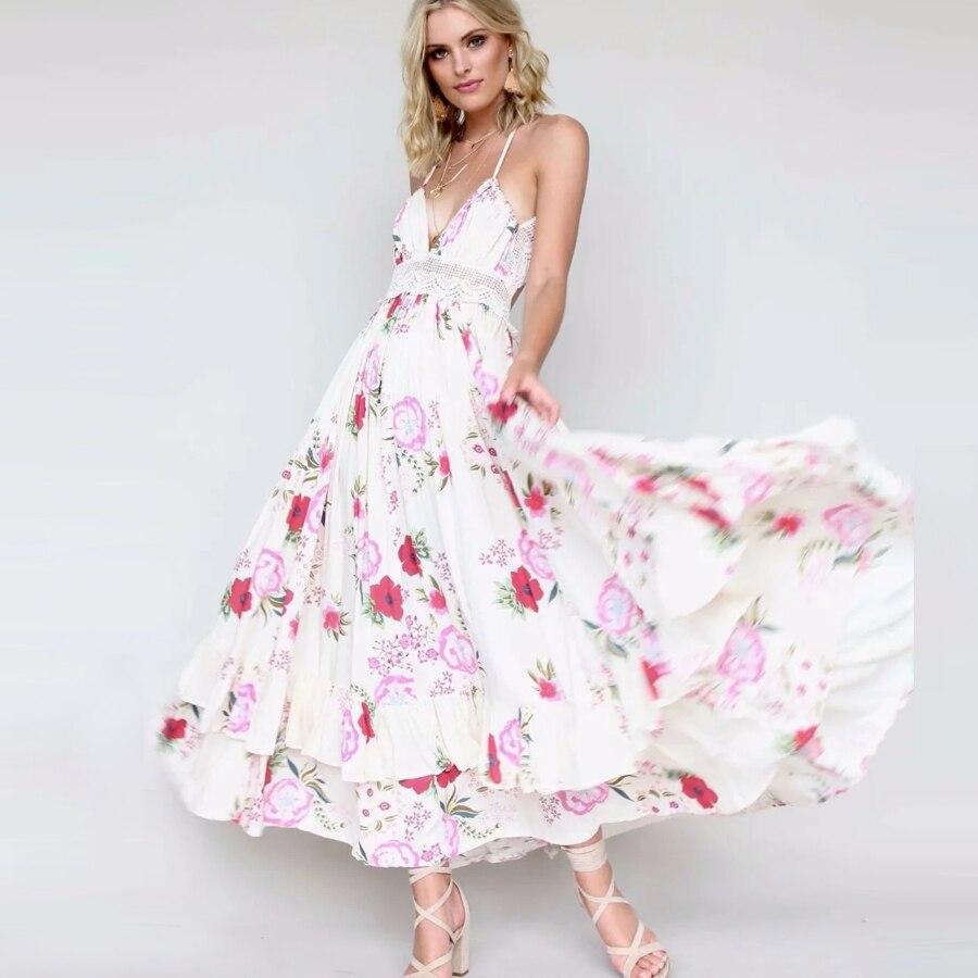 25720083389fa Manches Teelynn Sexy Femmes Floral Boho Rose Robes Sans Robe De Dos ...