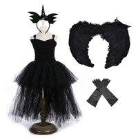 Elegant Halloween Gowns for Children Girls Dresses in Kids V neck Sleeveless Prom Party Dress Tutu Girls Black Dress Set Vestido