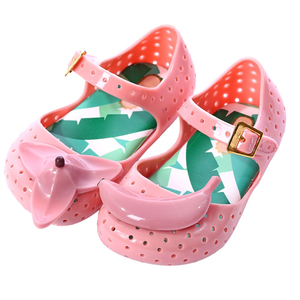 mini melissa summer shoes FURADINHA IX Banana Jelly Sandals Childrens Shoes Jelly Shoes Hollow boys girls Sandals Anti-Skid