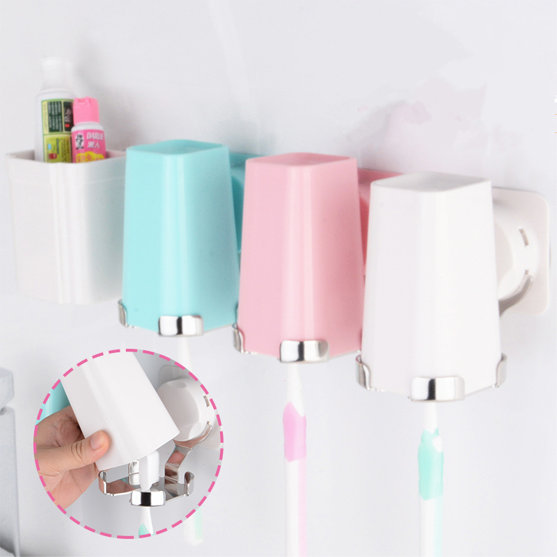 Hight quality Toothbrush Holder Suction Hooks Cup Organizer wash toothbrush cup wall mount sucker Bathroom Accessories