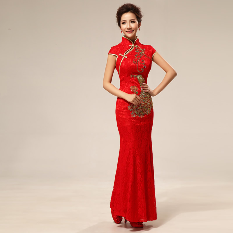 ⓪2016 Red Lace Cheongsam Dress Bride Wedding Qipao Chinese ...