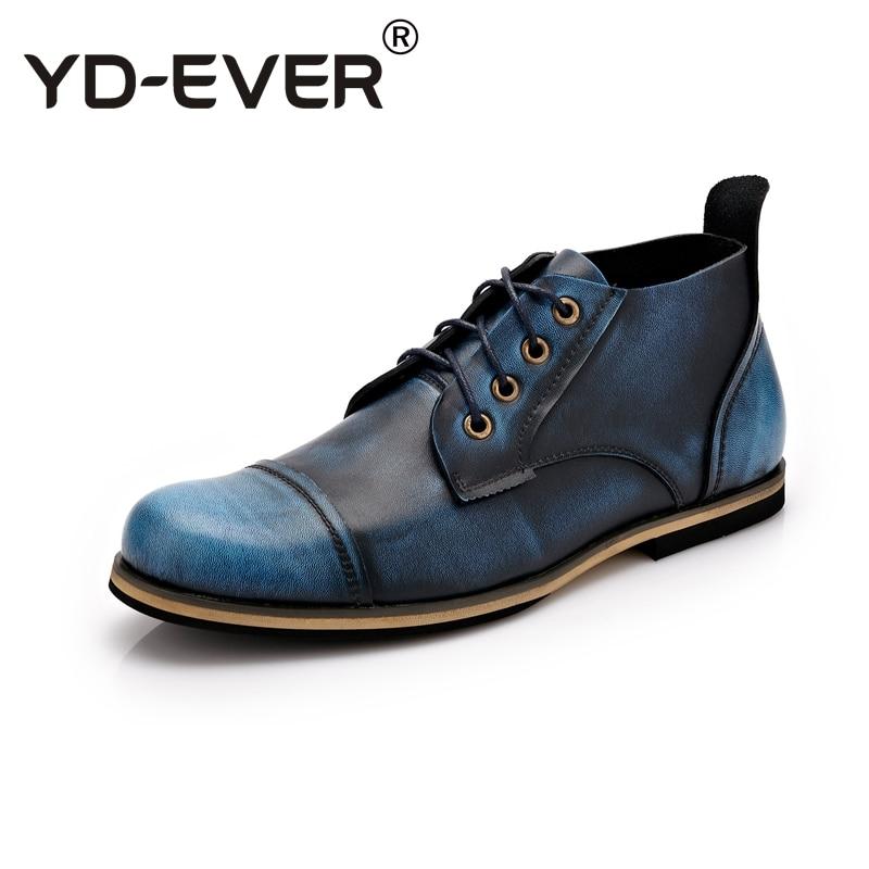 Retro brown Boots Top Couro Genuíno Lace De Moda red Yd Vantagem Homens Casuais Vaca Tamanho Botas Sapatos Blue Grande Quality ever up black Ankle qOwx10P