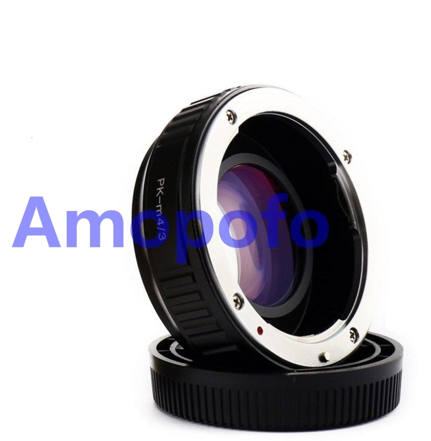 Amopofo PK-M4/3 Focal Reducer Speed Booster Adapter for Pentax PK K  mount Lens to for Olympus M4/3 GH4 GX7 E-PL2, E-PL3, E-PM1. pixco focal reducer speed booster lens adapter ring suit for canon ef lens to suit for micro 4 3 m4 3 camera gx7 e m5 e pl6
