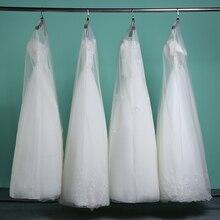 Długi 160cm 180cm przezroczysty miękki tiul osłona przeciwpyłowa na ubrania domowe suknia ślubna suknia ślubna Protector Mesh przędzy AC017