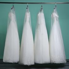 Longo 160cm 180cm transparente macio tule poeira capa para casa roupas vestido de casamento vestuário vestido nupcial protetor malha fio ac017
