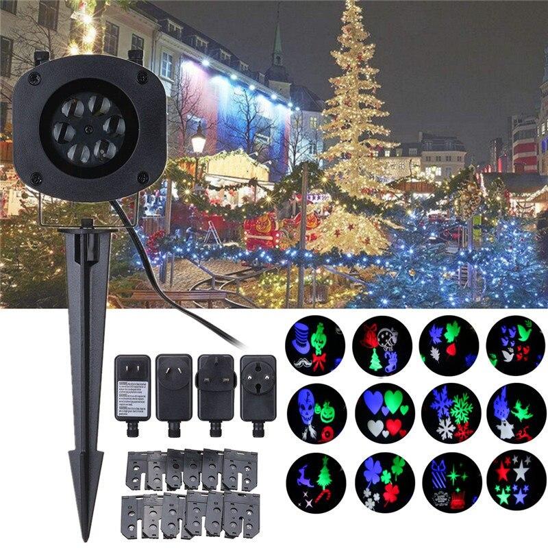 Projection Light + 12 Theme Card +Ground Stake EU/UK/US/AU Plug AC100-240V 6 LED lights Stage Lighting Effect Automatic Colorful