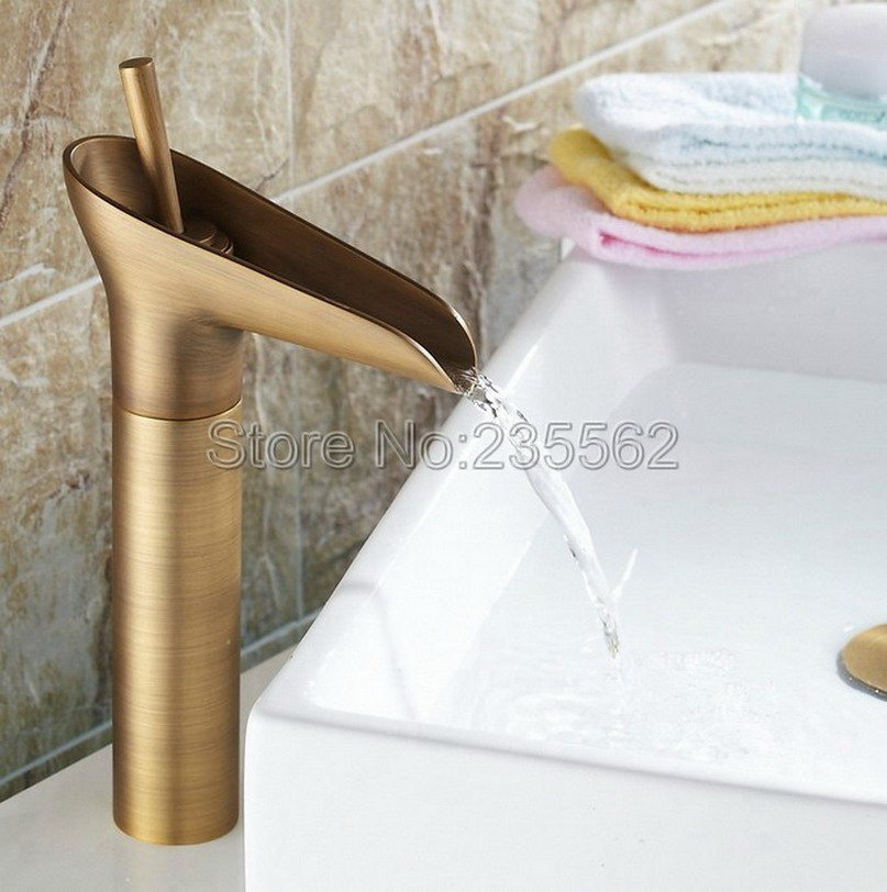 Retro Bathroom Basin Faucet Antique Brass Finish Deck Mounted Vessel Sink Mixer Taps Single Handle lnf001 luxury wall mounted bathroom basin faucet single handle golden finish sink mixer