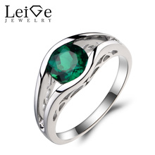 Leige Jewelry Bezel Setting Lab Emerald Ring Engagement Ring Green Gemstone May Birthstone 925 Sterling Silver Ring Gift for Her