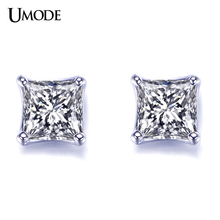 UMODE Brand Unique Design White Gold Post Earrings Princess Cut 5mm 0.63 Carat AAA+ CZ Diamond Stud Earrings For Women AUE0049 цена