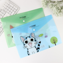 1PC Korean Cute Cheese Cat File Bag Folder Document Filing Products Kawaii PVC A4 Stationery Bag Office School Supplies