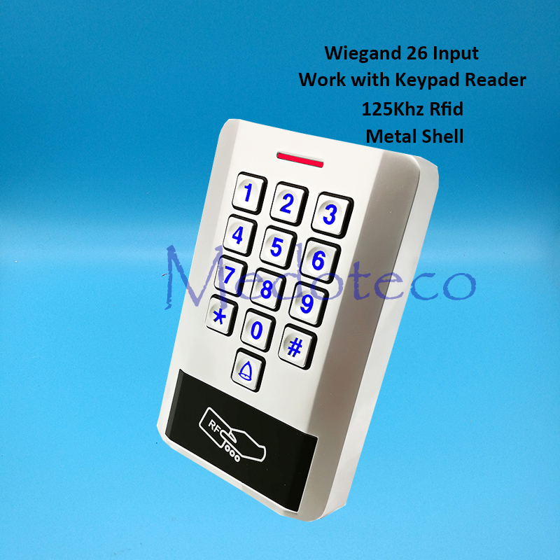 Metal Rfid Card Access Control EM card Press keypad access controller wiegand 26 input for Keypad Reader Door Lock Reader outdoor mf 13 56mhz weigand 26 door access control rfid card reader with two led lights