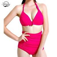 Hoan hô Cổ Điển Bộ Bikini Eo Áo Tắm phụ nữ Băng Tắm Phù Hợp Với red push up màu tinh khiết Biquini Retro Đồ Bơi