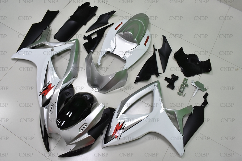 GSX R 750 06 <font><b>Fairings</b></font> for Suzuki GSXR600 2006 - <font><b>2007</b></font> K6 Silver White <font><b>Fairing</b></font> <font><b>Kits</b></font> <font><b>GSXR</b></font> <font><b>600</b></font> 2006 Plastic <font><b>Fairings</b></font> image