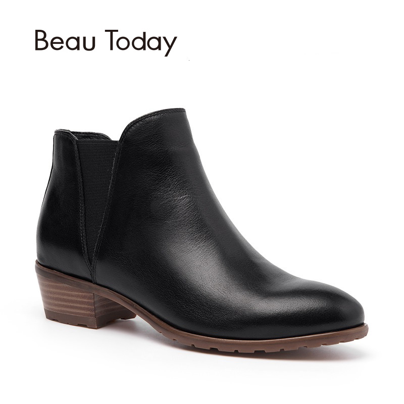 BeauToday Women Chelsea Boots Ankle Boot Genuine Cow Leather Top Quality Brand Elastic Band Ladies Shoes Handmade 03214 стоимость