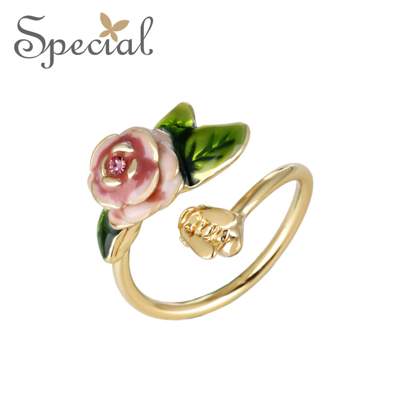 Special New Fashion Vintage Rings Gold Plated Flower Party Rings Adjustable End Open Opal Jewelry Gifts
