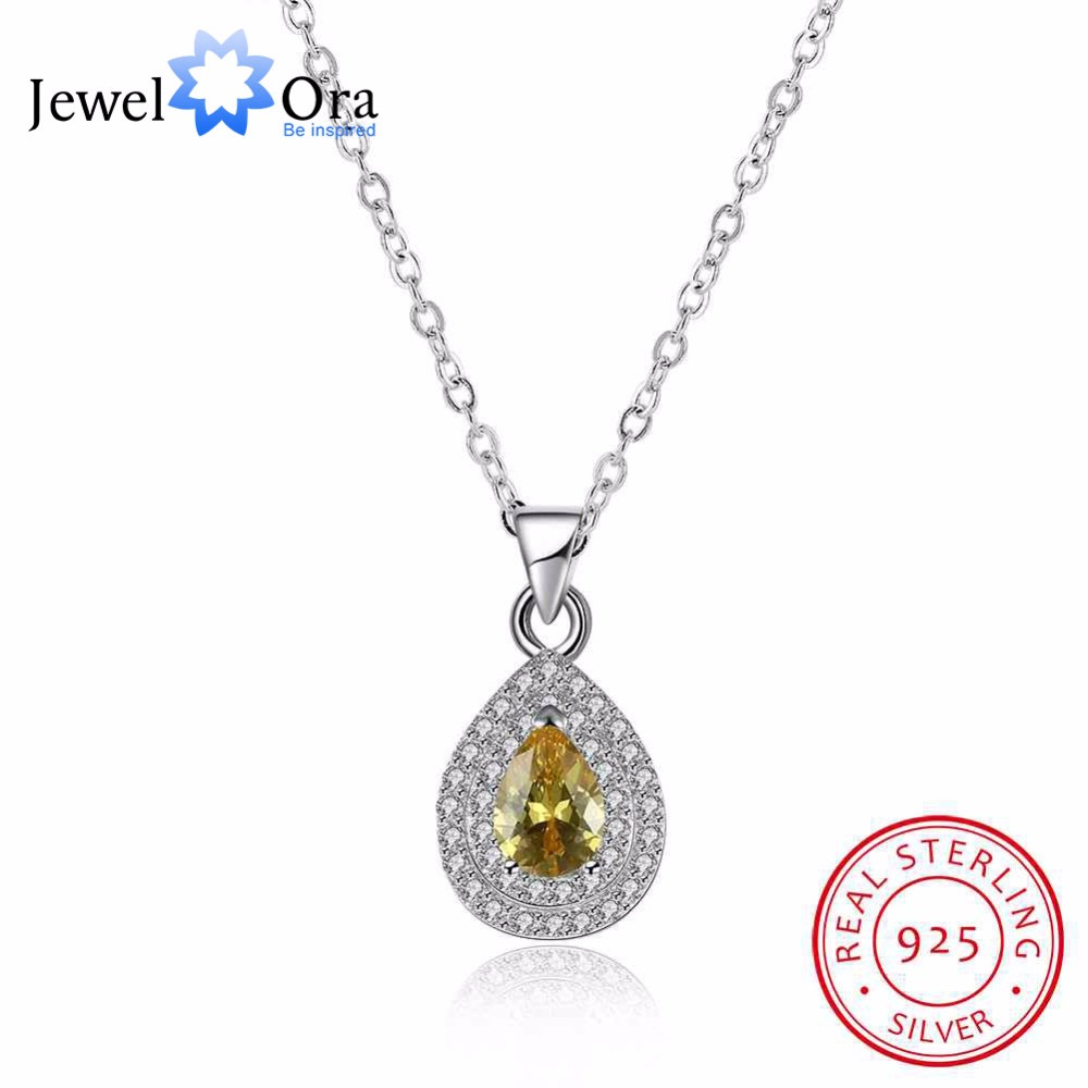 Solid 925 Sterling Silver Necklace Fashion Water Drop Design Wedding Jewelry Necklaces & Pendants For Women (JewelOra NE101834)