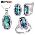 50% de descuento uloveido dubai africana bijouterie 925 plata esterlina anillo collar pendientes sistemas de la joyería nupcial india femenina regalo t482