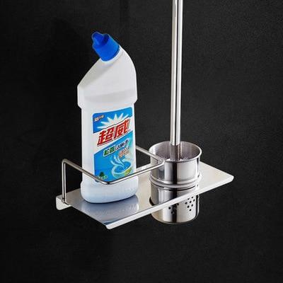 304 Нержавеющаясталь Silver туалетная щетка с полки настенные Ванная комната Зеркало Покрытие для очистки щетки Ванная комната Полки