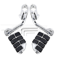 Heavy Duty Metal Chrome 1 1/4 32mm Engine Guard Highway Long Mount Foot Peg Footpegs Set for Harley Touring