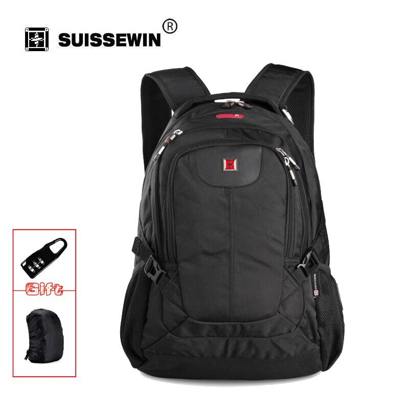 Swisswin Quality Black Business Laptop Backpack Male 15 Notebook Computer Bag Mochila masculino Orthopedic Backpack  SWC0026 swisswin black business backpack sw9218 male swiss 15 6 computer swissgear wenger bag 23l mochila