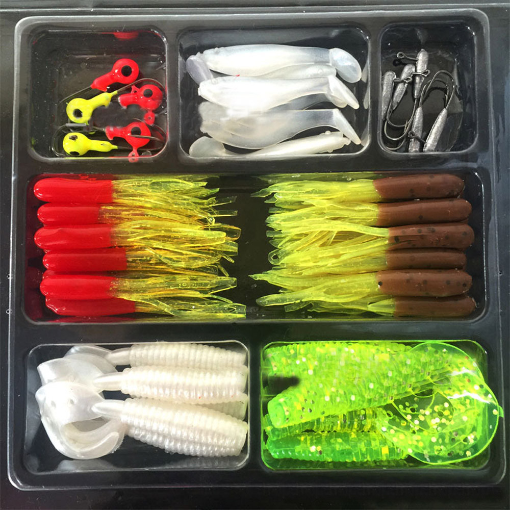 2017 35Pcs Soft Worm Lure Lure Set 10 Lead Head Jig Hooks Fishing Baits Set Tackle September8